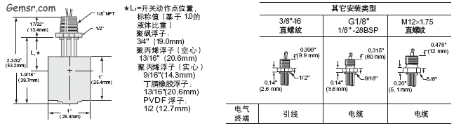 GEMS LS-3系列高可靠性、紧凑型低成本的浮子式液位开关